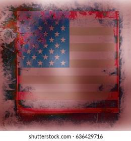 Grunge USA flag design background