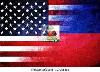 Grunge USA and Haiti  flag graphic