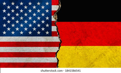 Grunge USA VS Germany national flags icon pattern on weathered cracked wall background, abstract vintage international political economic relationship divided conflicts concept texture wallpaper