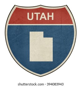 Grunge Utah American interstate highway road shield isolated on a white background.