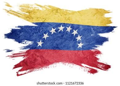 Grunge Venezuela flag. Venezuela flag with grunge texture. Brush stroke.