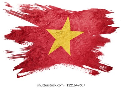 Grunge Vietnam flag. Vietnam flag with grunge texture. Brush stroke.