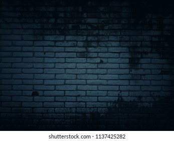 Grunge and vintage with dark tones and patterns of old walls made of white rectangular bricks for the background and concept wallpaper.