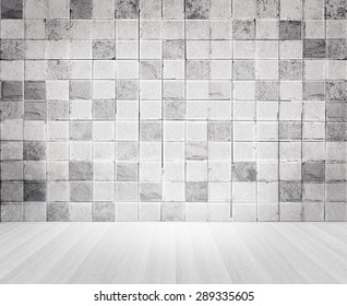Grunge vintage style concrete tile wall and wooden floor texture