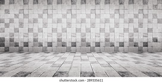 Grunge vintage style white concrete tile wall and floor texture