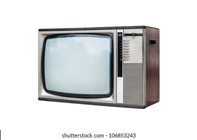 Grunge vintage television isolated on white