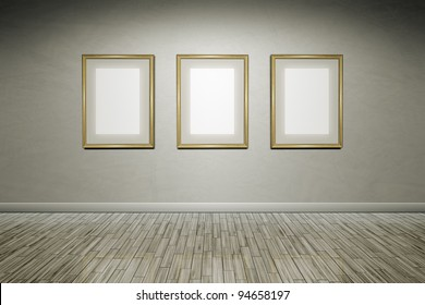 A grunge wall with golden frames for your content
