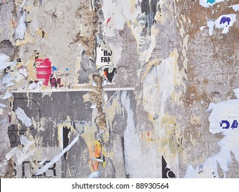 Grunge wall with posters - Urban grunge background
