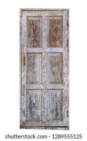 Grunge weathered mossy wooden door on white background