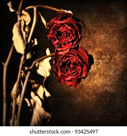 Grunge Wilted Roses Over Abstract Dark Old Wallpaper Background Floral Red Border With Dried Out