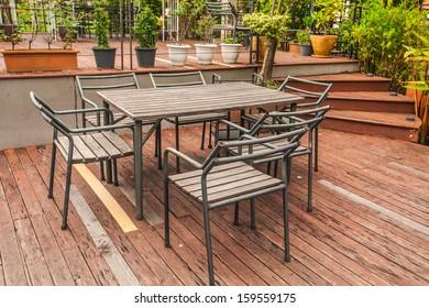 grunge wooden table in garden