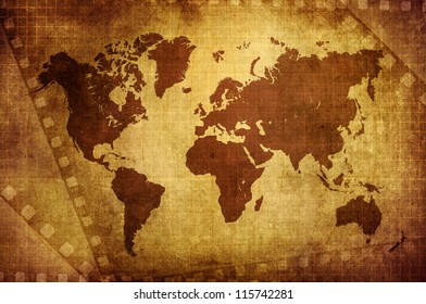 Movie world australia images stock photos vectors shutterstock grunge world map with film background gumiabroncs Choice Image