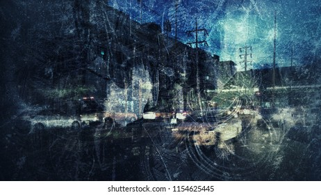 Grungy abstract image with overlap multi exposure effect use for background backdrop