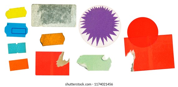 grungy adhesive price stickers, price tags, with free copy space, isolated on white background