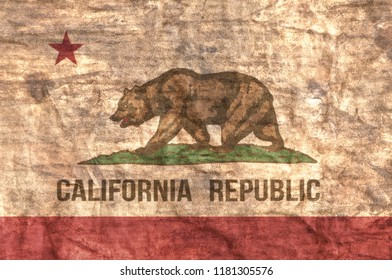 Grungy aged and distressed State of California flag