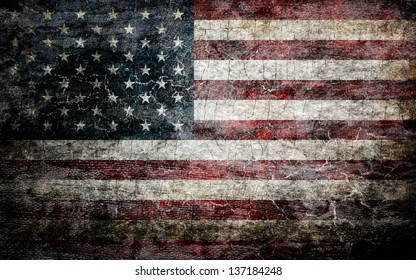 Grungy american flag background.