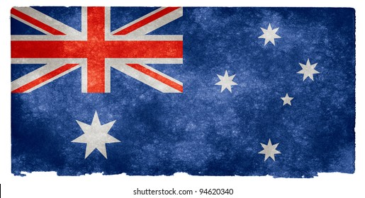 Grungy Australian Flag on Vintage Paper