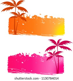 Grungy backgrounds with palm trees and halftone elements - orange and pink
