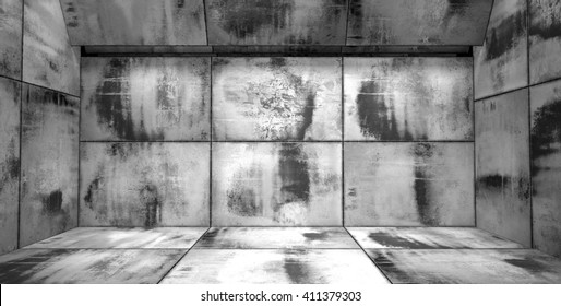 Grungy Black and White Room 3D Illustration