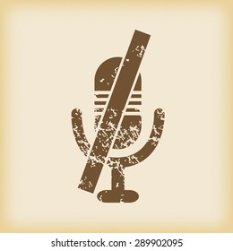 Grungy brown icon with image of muted microphone, on beige background