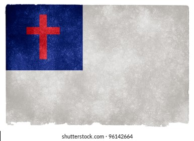 Grungy Christian Flag on Vintage Paper