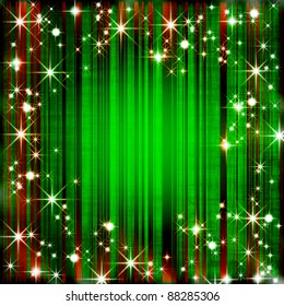 Grungy christmas background with stripes and stars
