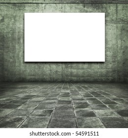 Grungy concrete room with white screen board