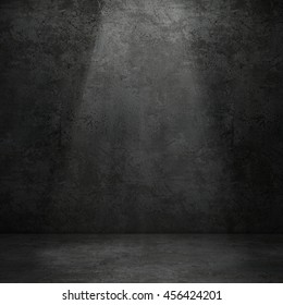 Grungy concrete wall and stone floor room with volume light as background