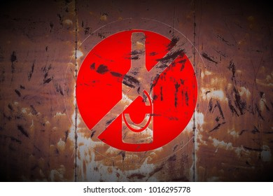 grungy drinking forbidden sign painted on rusty welded metal texture background
