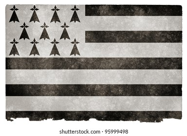 Grungy Flag of Brittany on Vintage Paper (Brittany being a region in the north-west of France, where the flag is also known as Gwenn-ha-du)