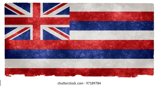 Grungy Flag of Hawaii on Vintage Paper