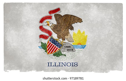Grungy Flag of Illinois on Vintage Paper