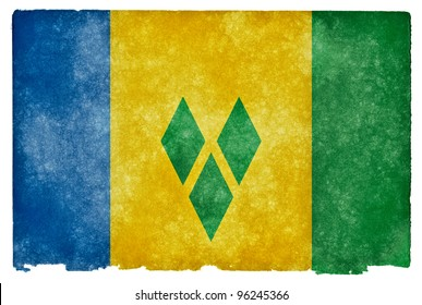 Grungy Flag of Saint Vincent and the Grenadines on Vintage Paper