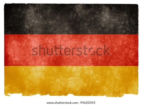 Grungy German Flag on Vintage Paper