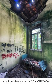 Grungy interior of abandoned house