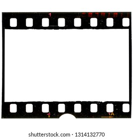 grungy looking 35mm filmstrip or frame on white background, real scan of film material