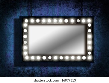 A grungy mirror with marquee lights hanging by chains. Grunge velvet wallpaper in the background.