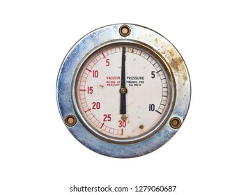 Grungy old air pressure and vacuum gauge isolated on white background
