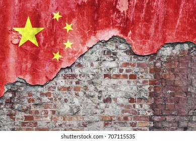 Grungy old brick wall with Chinese flag on broken render surface