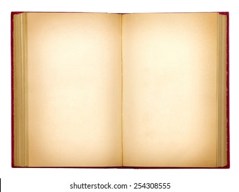 grungy old open book on white background isolation