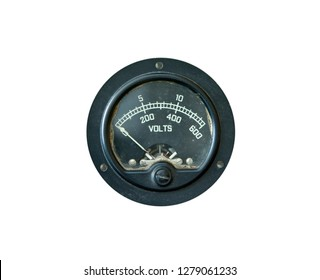 Grungy old voltage gauge isolated on white background