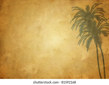 Grungy paper background with palms ornaments