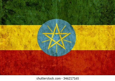 Grungy paper flag of Ethiopia