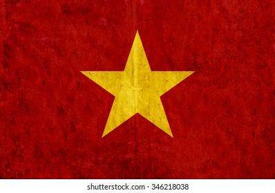 Grungy paper flag of Vietnam