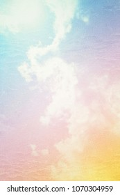Grungy pastel color background of cloud blue sky.