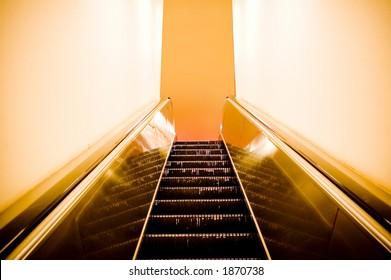 Grungy, postmodern escalator