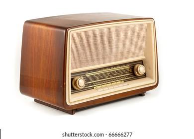 grungy retro radio isolated on white