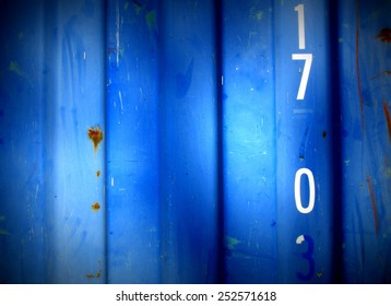 Grungy,  steel barrack wall texture background (with number 17 0) - blue style