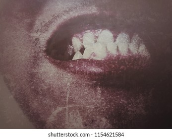 grungy style image with blury grain effect, painful mouth closeup with untidy teeth crook and gum pain, sickness of oral in dark tone grunge style