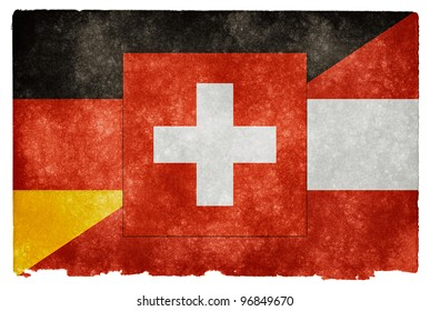 Grungy Vintage Flag Split Between Germany, Austria, and Switzerland (often used to represent the German language)